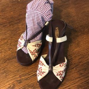 Seychelles wood and floral sandal wedges 8.5